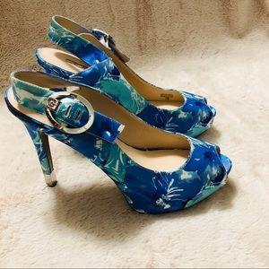 Guess floral peep toe sling back heels